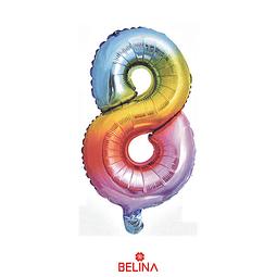"""Globo número 8 multicolor 16"""""""