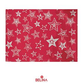 Papel de regalo rojo con estrellas plata 4pcs 50x70cm