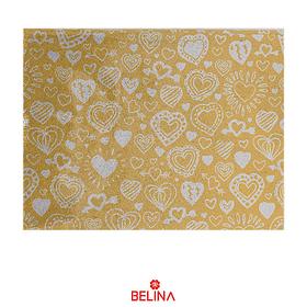 Papel de regalo dorado con corazones plata 4pcs 50x70cm