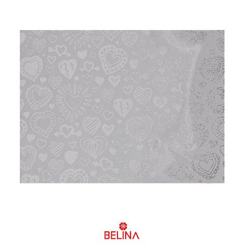 Papel De Regalo Blanco Con Corazones Plata 4pcs 50x70cm