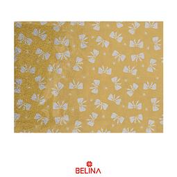 Papel de regalo dorado/lazos plata 4pcs 50x70cm