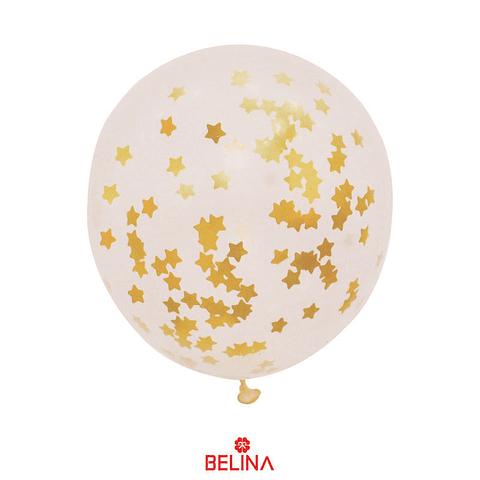 """Globo de latex con challa estrellas/dorado 18"""" 42cm"""