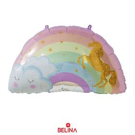 Globo metalizado arcoiris, nube y unicornio 59X75.8cm