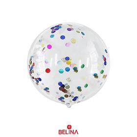 Globo Burbuja Confeti Redondo Multicolor