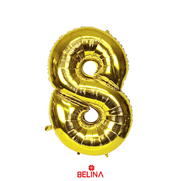 Globo Número 8 Oro 30 Pulgadas