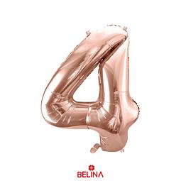 Globo número 4 oro rosa 40 pulgadas