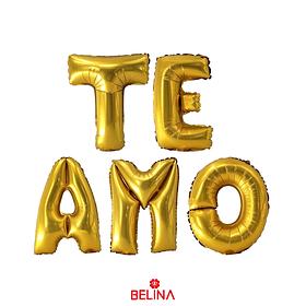 Globo Metalizado Te Amo Dorado