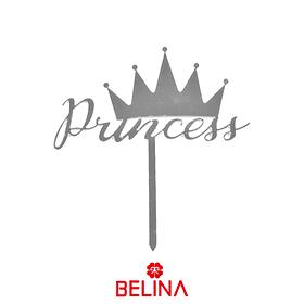 Topper acrílico  corona de princesa 12 x 13,5 cm color aleatorio