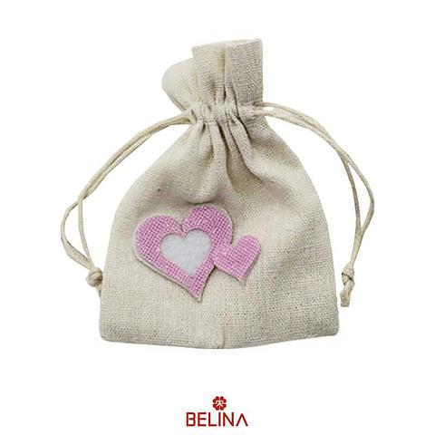 Bolsa de genero corazon rosa 2pcs 10x13cm