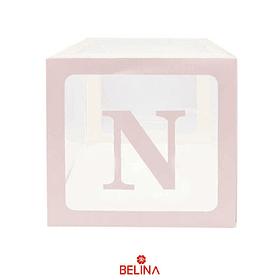 Caja Transparente Con Letras Color Rosa 30cm