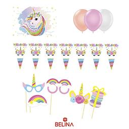 Kit de cumpleaños unicornio 27 pcs