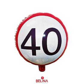 Globo Rojo Con Blanco #40