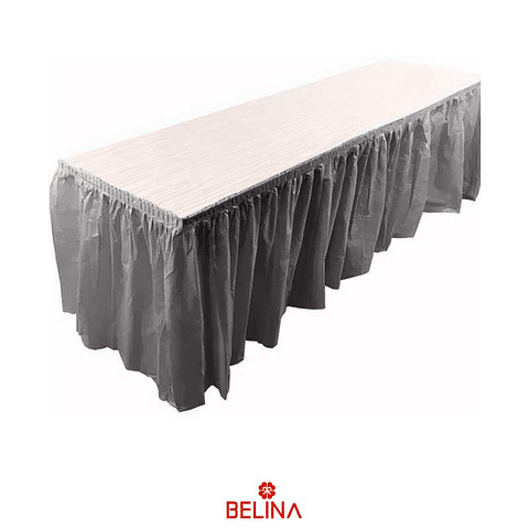 Faldon para mesa gris