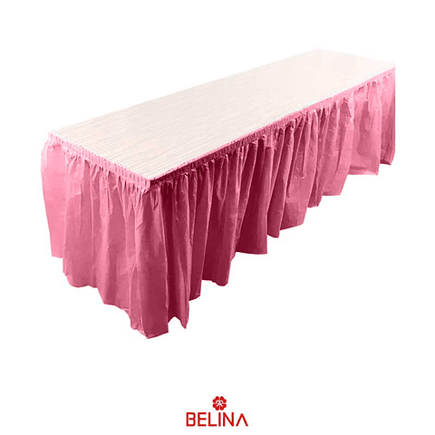 Faldon para mesa rosa