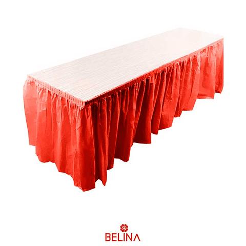 Faldon para mesa rojo