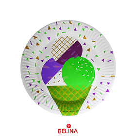 Plato grande cono de helado
