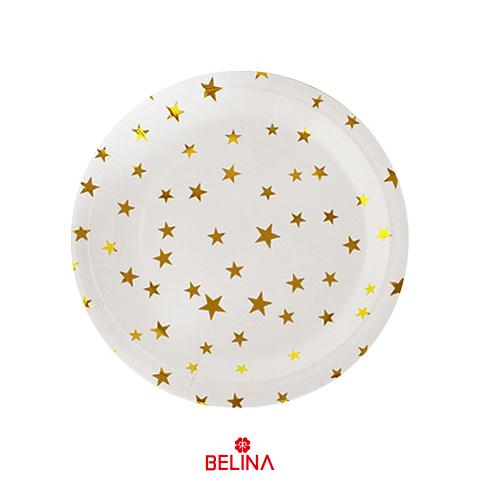 Plato grande estrellas oro