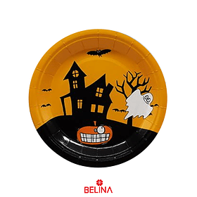 "Platos Halloween Fantasma 6un 7""-18cm"