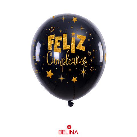 Globo De Latex Feliz Cumpleaños Negro/Oro 6pcs 30cm
