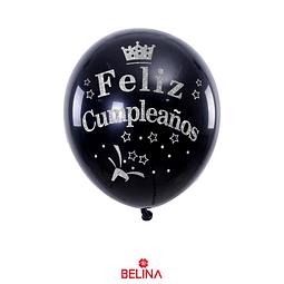 Globo De Latex Negro Feliz Cumpleaños Plata 30cm 6pcs