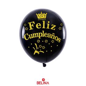 Globo de latex negro/oro feliz cumpleaños corona 6pcs 30cm