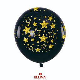 Globos Negro Con Estrellas Oro 30 Cm
