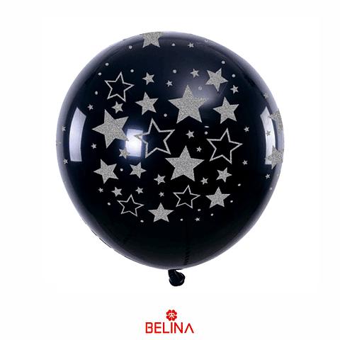Globo negro con estrellas plata 30cm