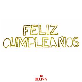 Guirnalda feliz cumpleaños oro escarchado