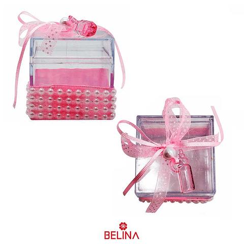 Caja de acrilico biberon rosa