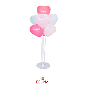 Set de palitos con globos corazon rosa 7pcs
