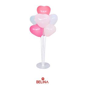 Set de palitos con globos corazon rosa 7pcs