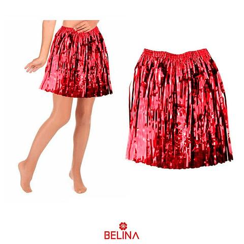 Falda hawaiana metalizada rojo