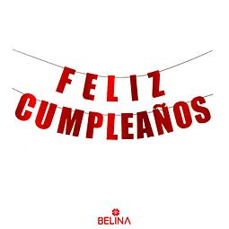 Guirnalda Feliz Cumpleaños 5m Rojo Metalizado