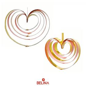 Guirnalda corazones metalicos rosa 4pcs