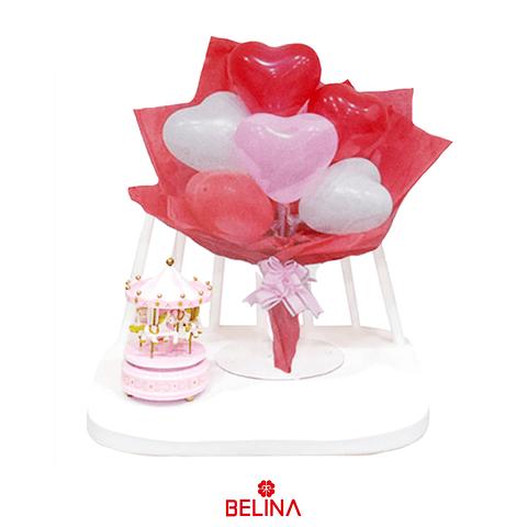 Set arreglo de globos corazones rosa/blanco/rojo 7pcs