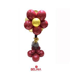 Set de globos rojo/negro/oro con base y tul 26pcs
