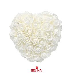 Corazón De Rosas De Goma Eva 18cm Blanco