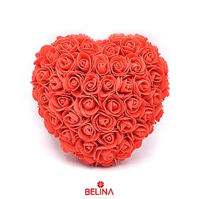 Corazon De Rosas De Goma Eva 23cm Rojo
