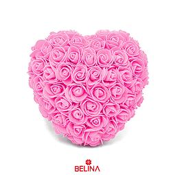 Corazón De Rosas De Goma Eva 18cm Rosado