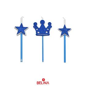 Velas corona y estrellas azul 3pcs 16cm