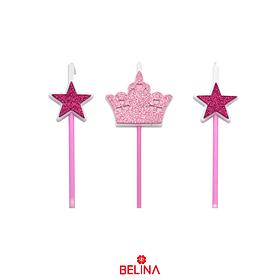 Velas corona y estrellas rosa 3pcs 16cm