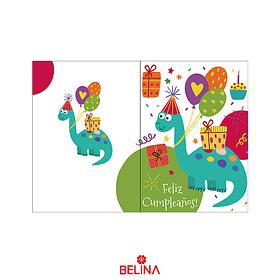 Tarjeta De Cumpleaños De Dinosaurio 11.5 X 17cm