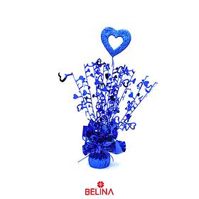 Soporte Para Globos Con Corazon 6x38cm Azul