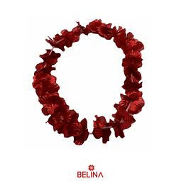 Collar hawaiano metalico rojo