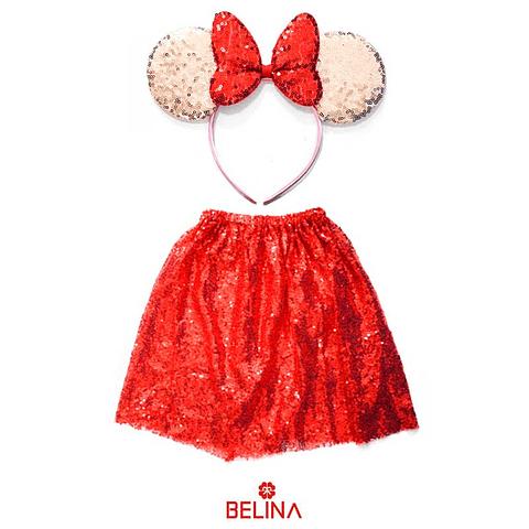 Disfraz De Princesa Rojo Con Lentejuelas/Orejas 30cm 2pcs