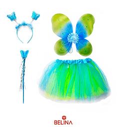 Disfraz de mariposa verde/celeste 30cm 3pcs