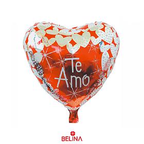 """Globo Metalico Corazon Rojo/Blanco Te Amo 18"""" 45x45cm 1pcs"""