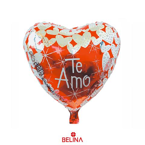 Globo Metalico Corazon Rojo/Blanco Te Amo 45cm