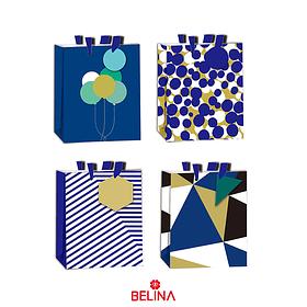 Bolsa de regalo azul y dorado con etiqueta 26x32x10cm