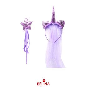 Cintillo lila con cuerno/varita brillante 2pcs 33cm